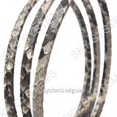 Плоский шнур из кожи питона 5 х 2 мм | Серый...