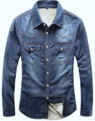Стильные зимние мужские джинсовые рубашки