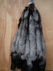 Лиса черно - бурая, мех натуральный