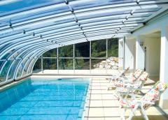 The pavilion or canopy for the pool from