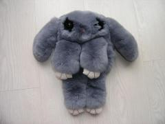 Bag toy the Rabbit in gray color from fur of a rabbit Rex