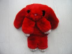 Bag toy the Rabbit in red color from fur of a
