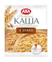 La papilla de 4 cereales de la preparación