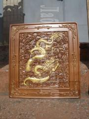 Original gifts from tree, carved pictures and