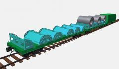 Многофункциональная платформа для ж. д. колеи 1520 мм — перевозка рулонной стали ,перевозка контейнеров,перевозка длинномерных грузов,перевозка рулонной стали с защитой