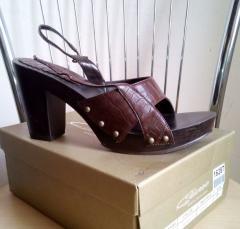 Босоножки-сабо Queen 16287 коричневые