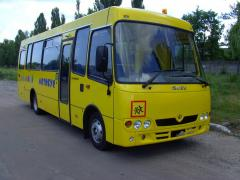 The school ATAMAN D093S4 bus with pnevmogidro the elevator for wheelchairs