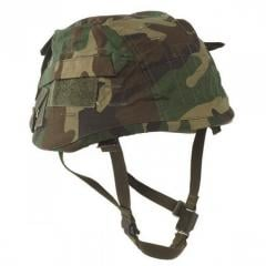 Cover on a helmet a cover of Mil-Tec Woodland