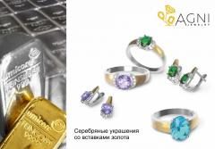 Silver products with gold slips and semiprecious
