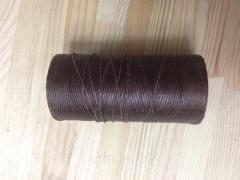 Нитка вощёная, плетенная, плоская, коричневого цвета, толщина - 1 мм, 130 метров, артикул СК 5087