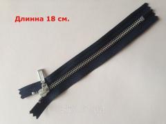 Молния YKK, размер № 5, длинна - 18 см., цвет ткани - черный, цвет зубьев - никель, артикул СК 5105