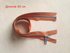 Молния металлическая YKK, размер № 5, длинна - 50 см., тесьма - рыжая, цвет зубьев - никель, артикул СК 5114