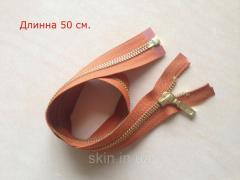 Молния металлическая YKK, размер № 5, длинна - 50 см., тесьма - рыжая, цвет зубьев - золото, артикул СК 5115