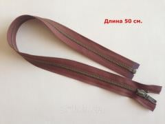 The lightning metal YKK, the size No. 5, is long - 50 cm, a band - brown, color of teeths - an antique, an art. CK 5125