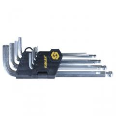 Keys six-sided 9 pieces 1,5-10mm CrV (short