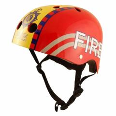 A Kiddi Moto helmet is fire, red, the size M
