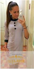 Платье-молодёжное «кожаный воротник-стойка»
