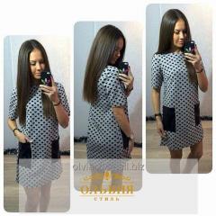 Трикотажное молодёжное платье с кожаными карманами