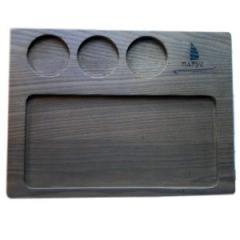 Деревянная доска для подачи блюд с углублениями для соусников, 350*250*20 мм