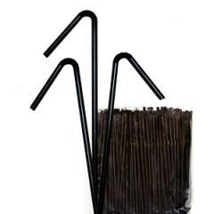 Трубочка для коктейля с гофрой черная, 200 шт