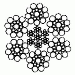 Канат двойной свивки типа ЛК-О 6×19(1+9+9)+7×7(1+6)
