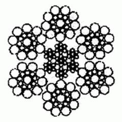 Канат двойной свивки типа ЛК-Р 6×19(1+6+6/6)+7×7