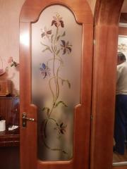 Витраж двери Орхидеи - цветное стекло