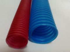Corrugated protective pipes for heating
