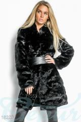 Fur coat with a hood