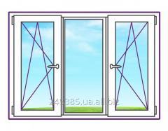 Трехстворчатое металлопластиковое окно с двумя поворотно-откидными створками