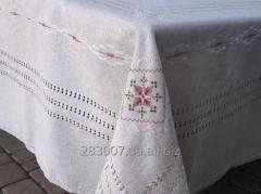 Linen tablecloth hand embroidered silk with...