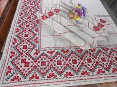 Embroidered tablecloth handmade in Ukrainian style