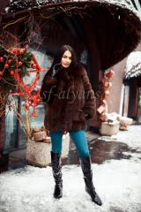 Short fur coat from the Finnish polar fox of the mixed cut Linda