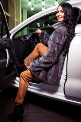 Short fur coat from a mink of the mixed cut Zara