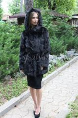Fur coat from muskrat plates with a hood of...