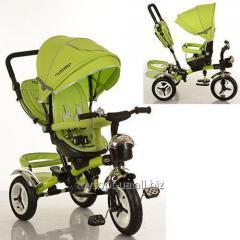 Велосипед M 3200-4A, 1шт, три кол.рез, 12/10, колясочн,поворот,перед.корзина,сумка,Зеленый