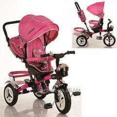 Велосипед M 3200-6A, 1шт, три кол.рез, 12/10, колясочн,поворот,перед.корзина,сумка,розовый