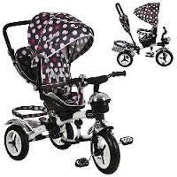 Велосипед M 3200-6A-D, 1шт, три кол.рез, 12/10, колясочн,поворот,перед.корзина,сумка,розов.круги