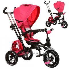Велосипед M 3202A-1, 1шт, три кол.,резина, 12/10, поворот,быстросъем.кол.,фикс.руля,звонок,розовый