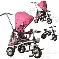 Велосипед M 3212A-4, 1шт, три кол.резина,трансформер, беговел, поворот,быстросъем.колеса,розовый