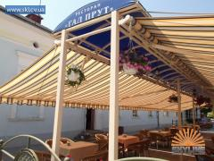 Canopies for summer platforms at cafe, bar,