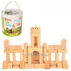 Деревянная игрушка Городок QZM-0203 (18шт) замок, в ведре, 18-18-19см (шт.)