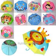 Зонтик детский MK 0866, 60шт, 47см, трость59см, диам.72см, спица47см, ткань, ушки, 10видов
