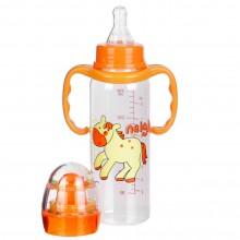 Бутылочка для кормления с ручками, пластиковая, 250 мл, с погремушкой, 1114
