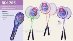 Бадминтон BD1705, 50шт, 2 ракетки 65см, воланчик, 3 цвета, в чехле 21 * 67см