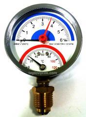 Термоманометр вертикальный (нижний) Aqua World XF344