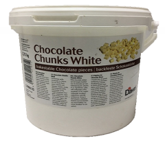 El chocolate termoestable blanco en los trozos / Chocolate Chunks White