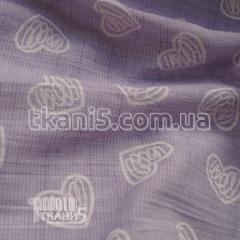 Fabric Flax rubashechny hearts (lilac) 6079