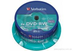 Диск DVD+RW Verbatim Cake, 4.7Gb, 25шт, 4x