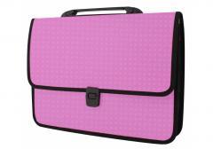 Portfolio plastic A4 Economix on a fastener, 1 office, Vyshivank's invoice, pink